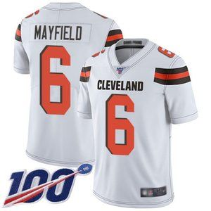 Youth Browns #6 Baker Mayfield Jersey 100th
